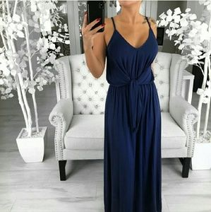AZUL -RP- Tie Front Maxi Dress in Blue